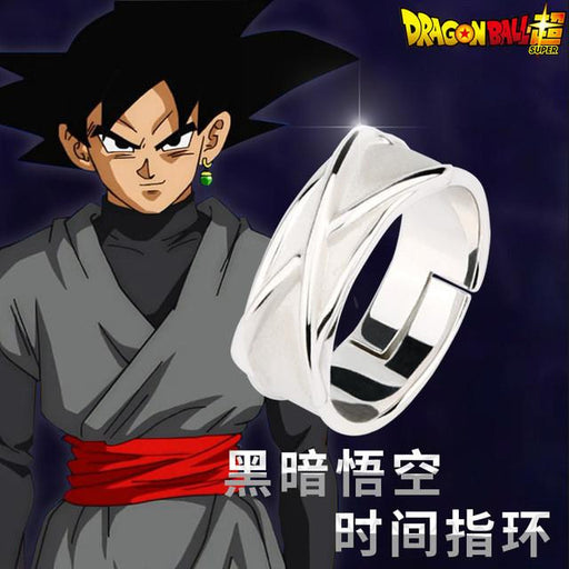 c1e81580b2 DBZ Black Goku Super Saiyan Potara Fusion Cool Silver Cosplay Time Ring