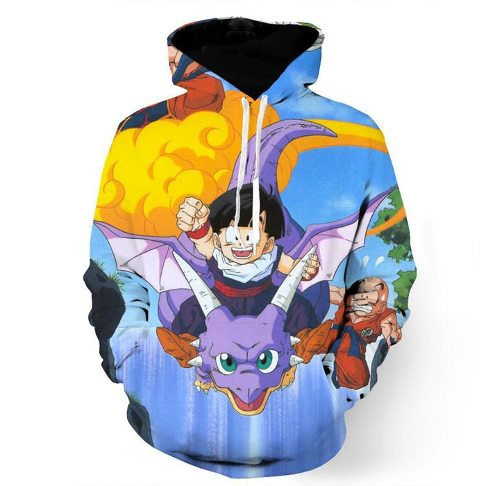 DBZ Cute Gohan Ride Icarus Dinosaur Krillin Funny Design Style Hoodie