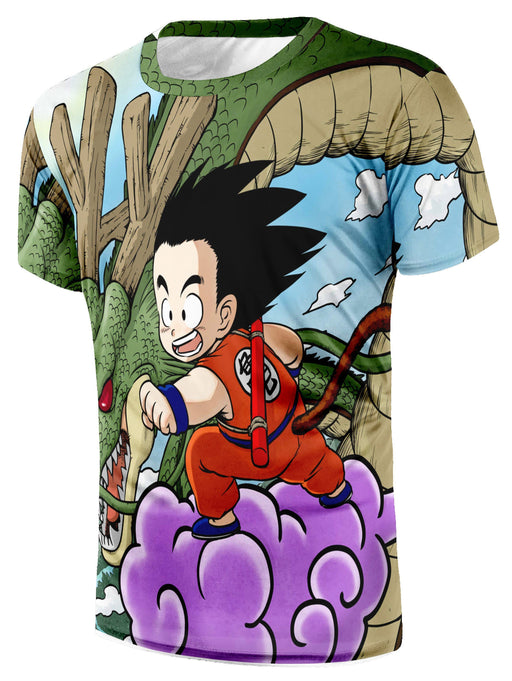 DBZ Cute Goku Kid Flying Nimbus Shenron Dragon God Vibrant Design T-Shirt