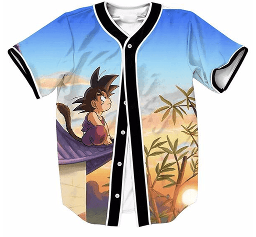 DBZ Cute Kid Goku Sitting On The Roof Blue Sky Full Print Baseball Jersey - Saiyan Stuff
