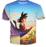 DBZ Cute Kid Goku Sitting Sky All Over Print T-Shirt - Saiyan Stuff - 1