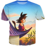 DBZ Cute Kid Goku Sitting Sky All Over Print T-Shirt - Saiyan Stuff - 2