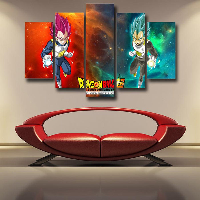DBS Duel Vegeta Saiyan Prince Rose God Blue SSGSS 5pc Canvas Print Wall Art