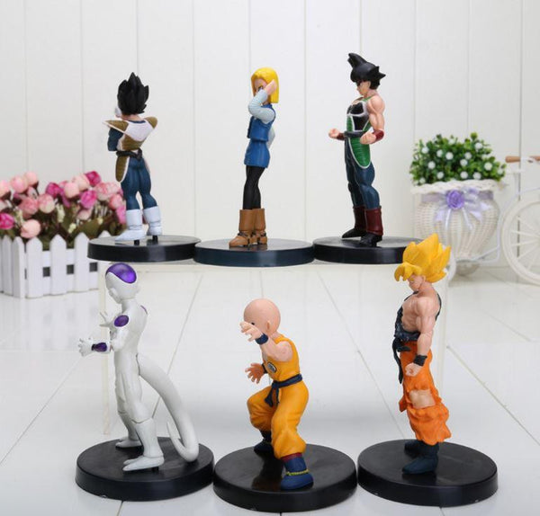 DBZ Figure Set 6pcs 5' Goku Bardock Vegeta Android 18 Krillin Frieza