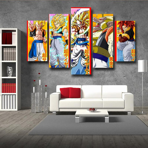 DBZ Gogeta All Form Super Saiyan 5pc Wall Art Decor Posters Canvas Prints