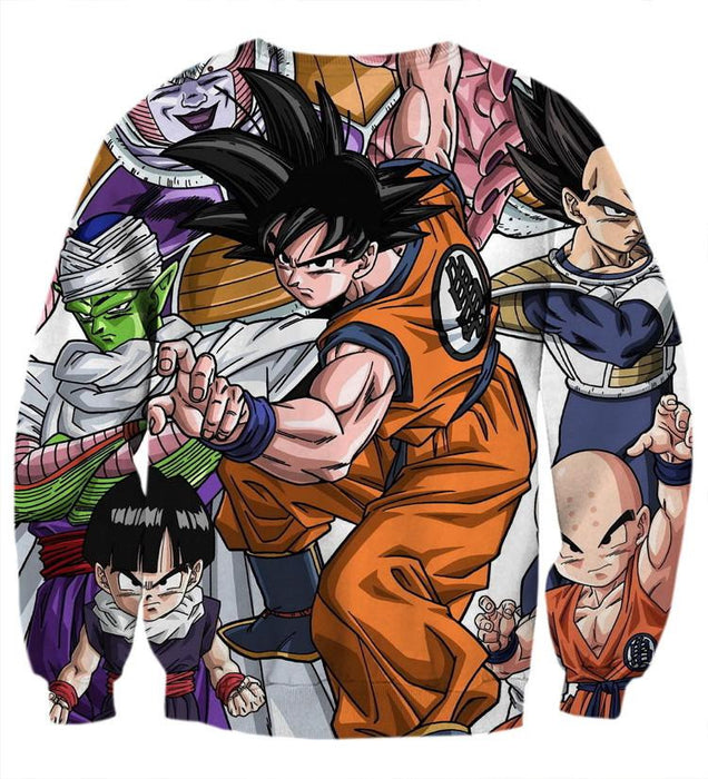 DBZ Goku Fighting Stance Gohan Piccolo Krillin Vegeta Frieza Color Sweatshirt