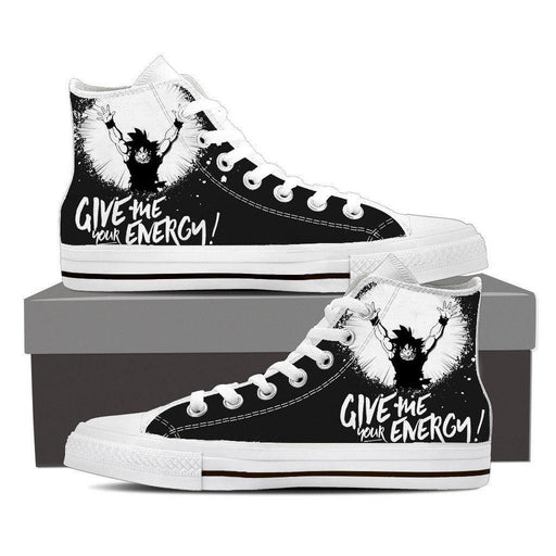 DBZ Goku Give Energy Spirit Bomb Black White Edition Converse Sneaker Shoes