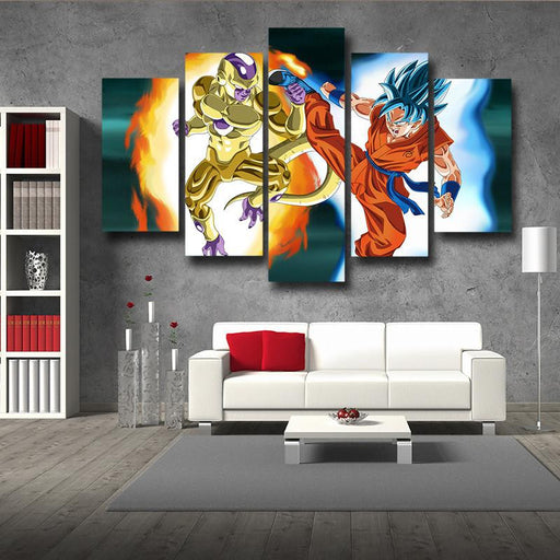 DBZ Goku God Blue Fight Golden Frieza 5pc Wall Art Decor Posters Canvas Prints