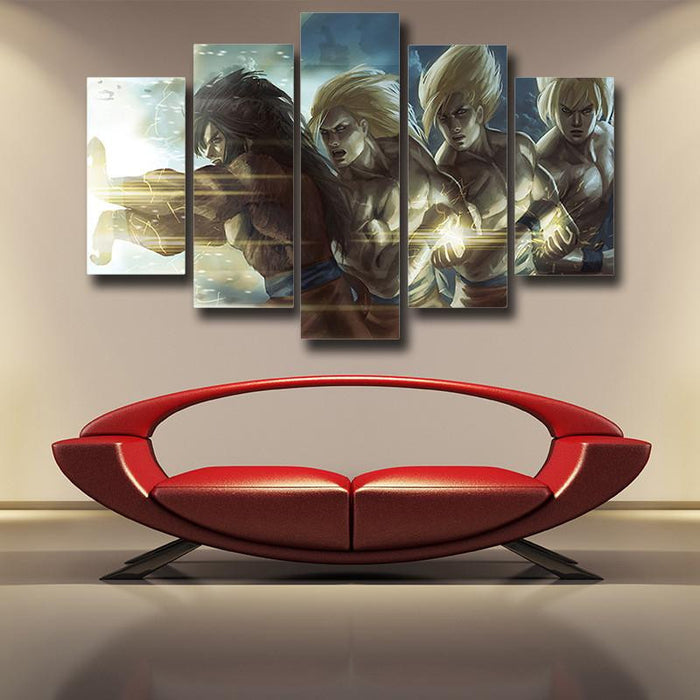 DBZ Goku Saiyan Evolution 5pc Wall Art Decor Posters Canvas Prints