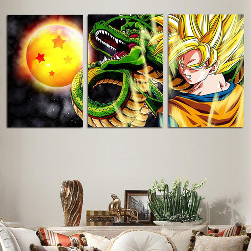 DBZ Goku Shenron Epic Style 3pc Wall Art Decor Posters Canvas Prints