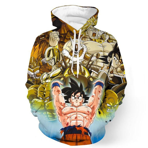 DBZ Goku Spirit Bomb Destroy Villains Cooler Broly Namek Golden Hoodie