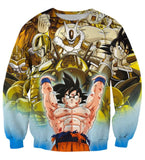 DBZ Goku Spirit Bomb Destroy Villains Cooler Broly Namek Golden Sweatshirt