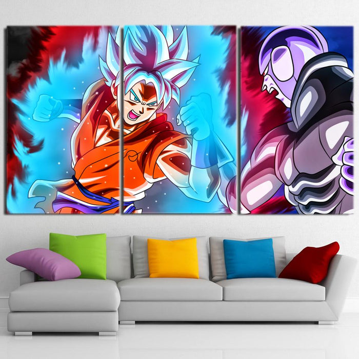 DBZ Goku Super Saiyan Blue Fighting Decor 3pc Canvas Prints