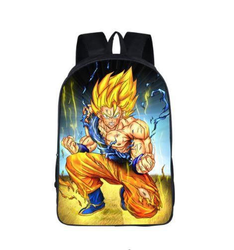 DBZ Goku Super Saiyan Fight Fan Art School Backpack Bag