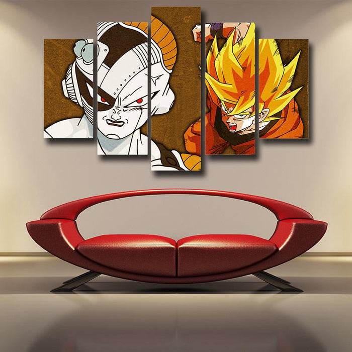 Goku Super Saiyan Fight Mecha Frieza 5pc Wall Art Decor Posters Canvas Prints