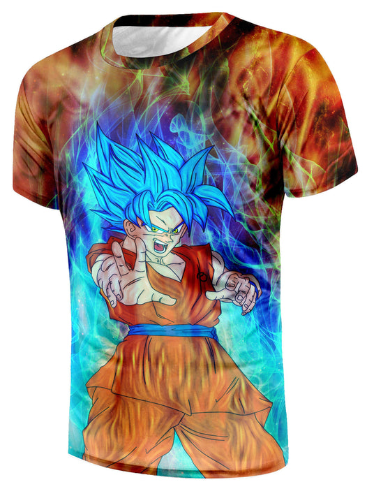 DBZ Goku Super Saiyan God Blue SSGSS Power Aura Fire Theme Design T-Shirt