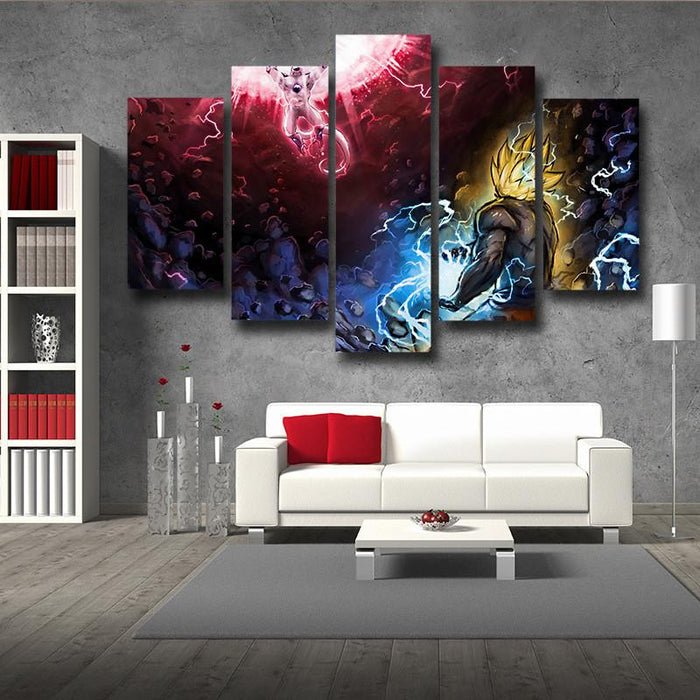 DBZ Goku Super Saiyan Kamehameha Frieza Power Ball 5pc Canvas Prints