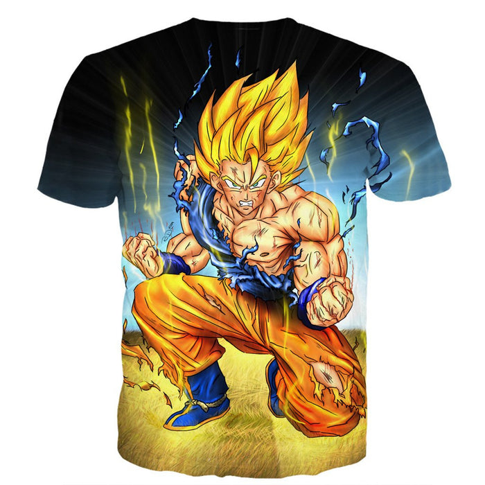 DBZ Goku Super Saiyan Thunder Power Damage Fight Cool Design T-Shirt - Saiyan Stuff - 2
