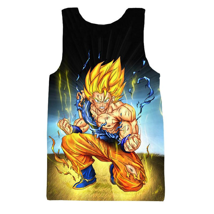 DBZ Goku Super Saiyan Thunder Power Damage Fight Cool Design Tank Top