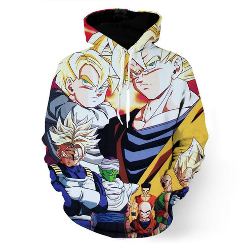 DBZ Goku Trunks Gohan Vegeta All Heroes Together Street Style Design Hoodie