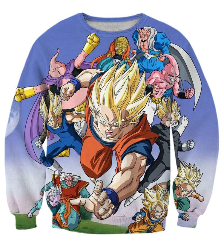 DBZ Goku Vegeta Gohan Saiyan Fight Villain Color Streetwear Style Design Sweatshirt