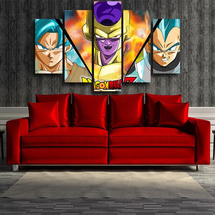DBZ Goku Vegeta SSGSS Golden Frieza 5pc Wall Art Decor Posters Canvas Prints