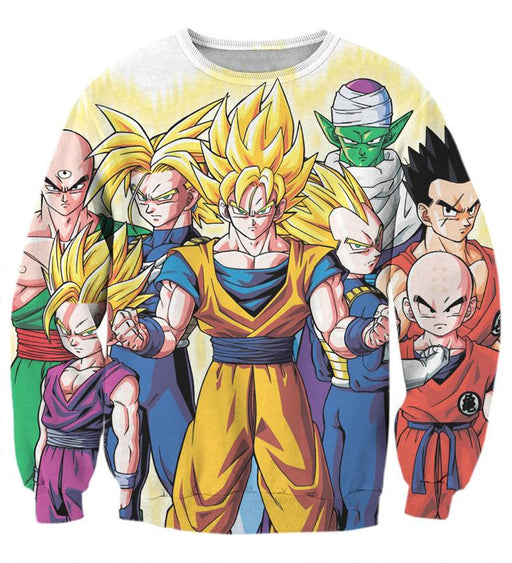 DBZ Goku Vegeta Super Saiyan Krillin Piccolo All Heroes Vibrant Design Sweatshirt
