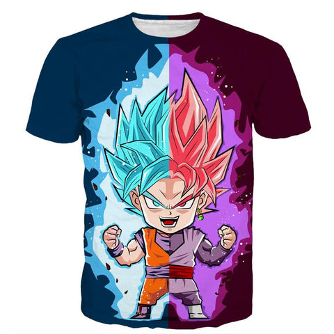 DBZ Goku Zamasu SSGSS God Blue Rose Super Saiyan Chibi T-Shirt