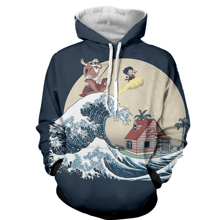 DBZ Kid Goku And Master Roshi Surfing To Kame House Hoodie