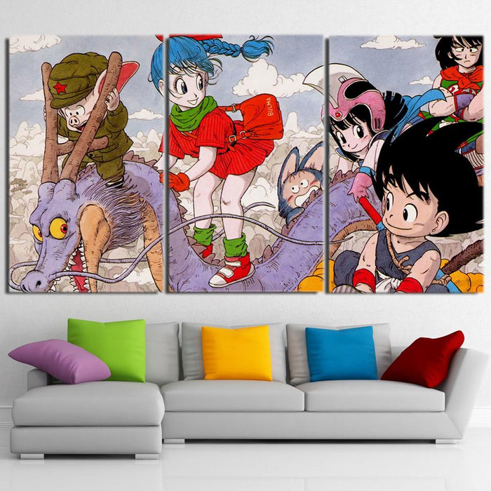 DBZ Kid Goku Kid Bulma Kid Chichi Lovely 3pc Canvas Prints