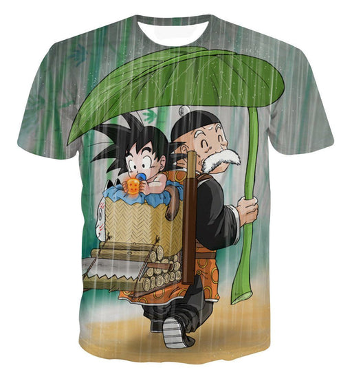 DBZ Kid Goku Super Saiyan Grandpa Gohan Cover Rain Cute Design T-Shirt