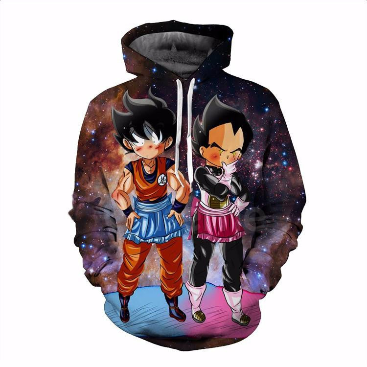 DBZ Maid Goku & Vegeta Space Galaxy 3D Funny Pocket Hoodie - Saiyan Stuff - 1