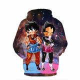 DBZ Maid Goku & Vegeta Space Galaxy 3D Funny Pocket Hoodie - Saiyan Stuff - 2