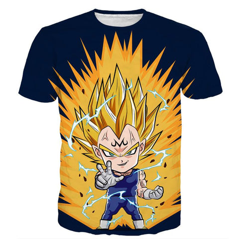 DBZ Majin Vegeta Super Saiyan Prince Power Aura Chibi Sketch T-Shirt