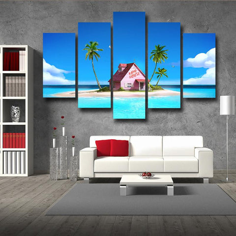 DBZ Master Roshi's Kame House Relax Vibe 5pc Wall Art Decor Posters Canvas Prints