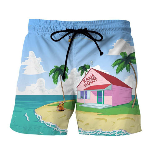 DBZ Master Roshi's Kame House Sketching Art Summer Shorts
