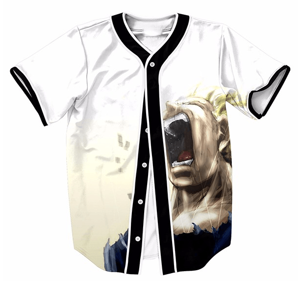 DBZ Pissed Off Angry Super Saiyan Vegeta Gets Mad Hip Hop Baseball Jersey - Saiyan Stuff