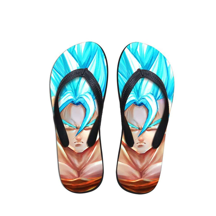 DBZ SSGSS Super Saiyan Blue Goku Sandals Beach Flip Flop Shoes