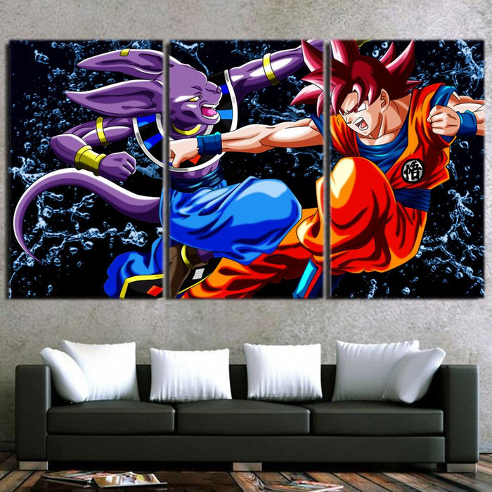 DBZ Son Goku And Beerus Fighting Scenario 3pc Canvas Prints