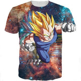 DBZ Super Saiyan Prince Vegeta Space Galaxy 3D T-Shirt - Saiyan Stuff - 1