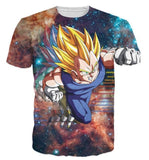DBZ Super Saiyan Prince Vegeta Space Galaxy 3D T-Shirt - Saiyan Stuff - 2