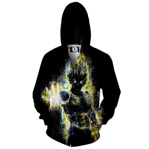DBZ Super Saiyan Vegeta Power Graphic Design Dark Color Zip Up Hoodie