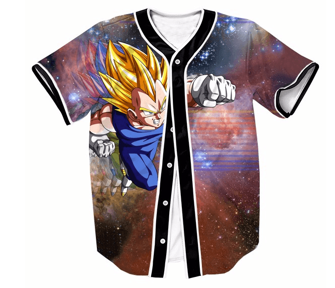 DBZ Super Saiyan Vegeta Space Galaxy Streetwear Hip Hop 3D Baseball Jersey - Saiyan Stuff - 1