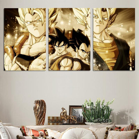DBZ Super Saiyan Vegeto Gogeta Vintage 3pc Wall Art Decor Canvas Prints