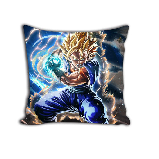 DBZ Super Saiyan Vegito Yellow Aura Artwork Decorative Throw Pillow