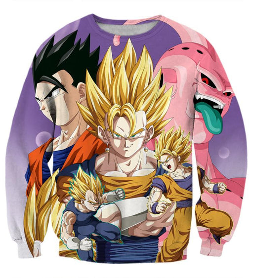 DBZ Vegeta Goku Vegeto Gohan Majin Buu Fusion Fight Epic Design Sweatshirt