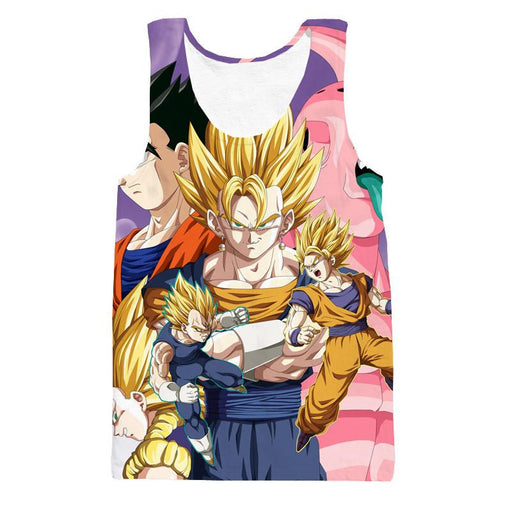 DBZ Vegeta Goku Vegeto Gohan Majin Buu Fusion Fight Epic Design Tank Top