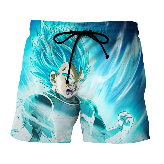 DBZ Vegeta SSGSS Saiyan God Blue Powerful Aura 3D Printing Summer Shorts