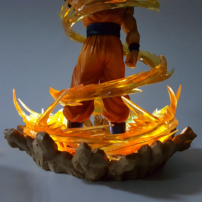 DBZ Super Saiyan Son Goku 2 Dope Pose Yellow Aura DIY 3D Light Lamp