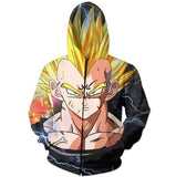 Dark Evil Demon Prince Majin Vegeta Zip Up Hoodie - Saiyan Stuff - 1